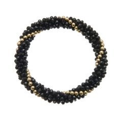 Black glass rondelle Bracelet with gold beads - Rae B11