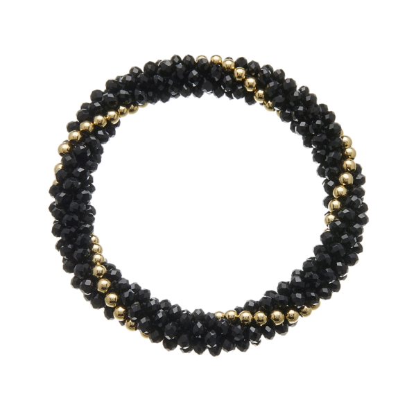 Black glass rondelle Bracelet with gold beads - Rae B11