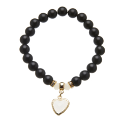 Matt black onyx beaded Bracelet with a gold heart charm and crystals - Rae B12