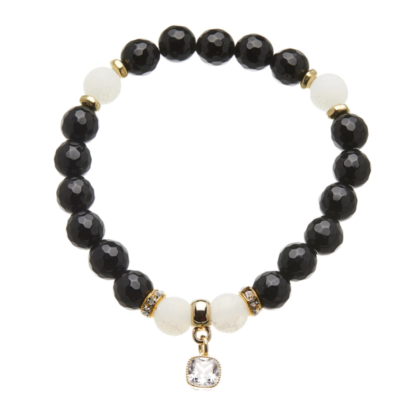 Facet black agate beaded Bracelet with a gold crystal charm - Rae B13
