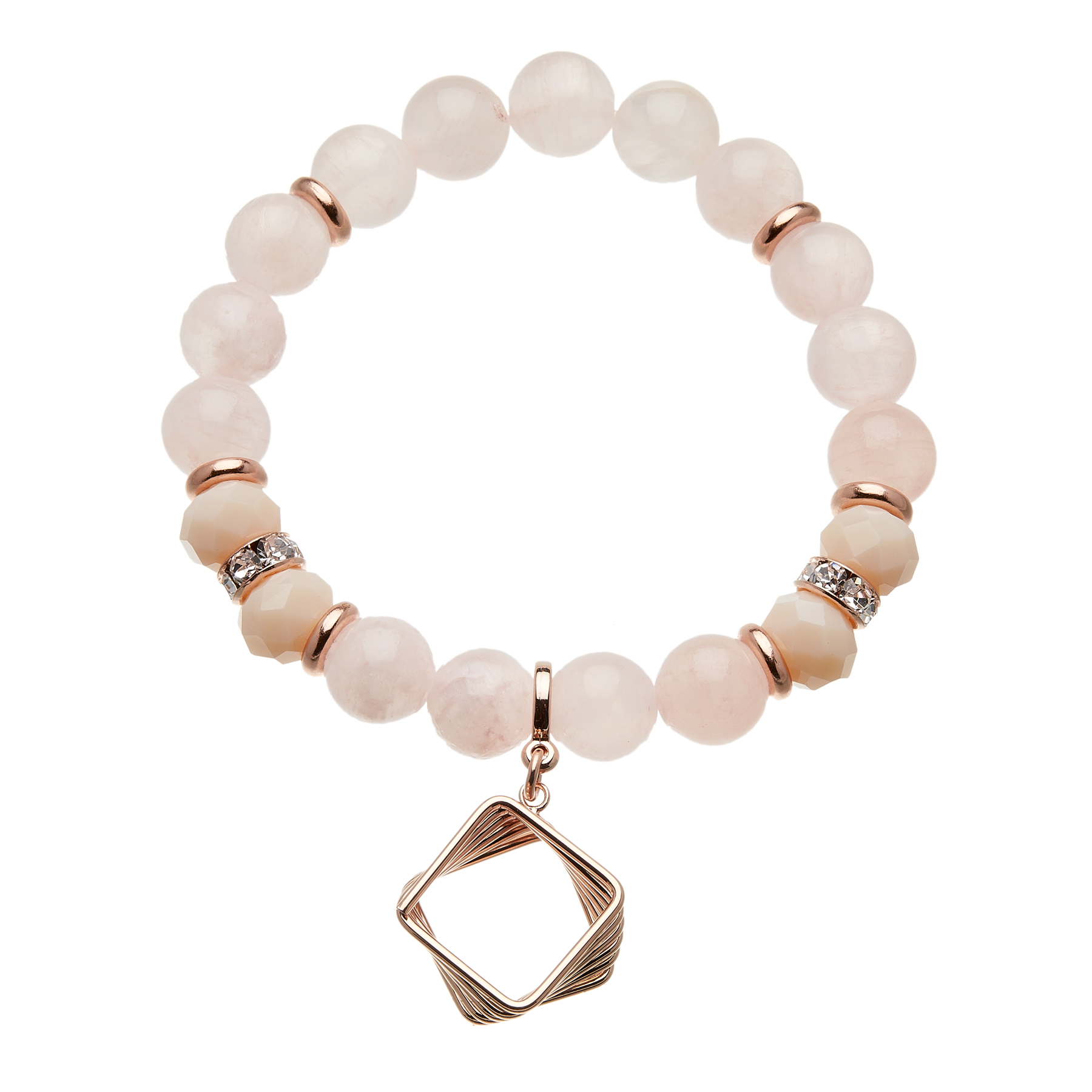 Pink jade beaded Bracelet with a rose gold charm and crystals - Rae P14