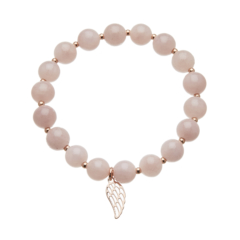 Pink jade beaded Bracelet with a rose gold angel wing charm - Rae P17