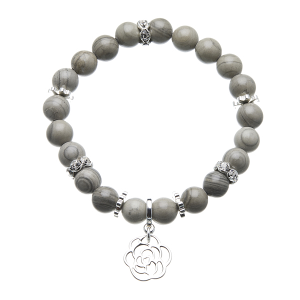 Grey jade beaded Bracelet with silver charms and crystals - Rae G02