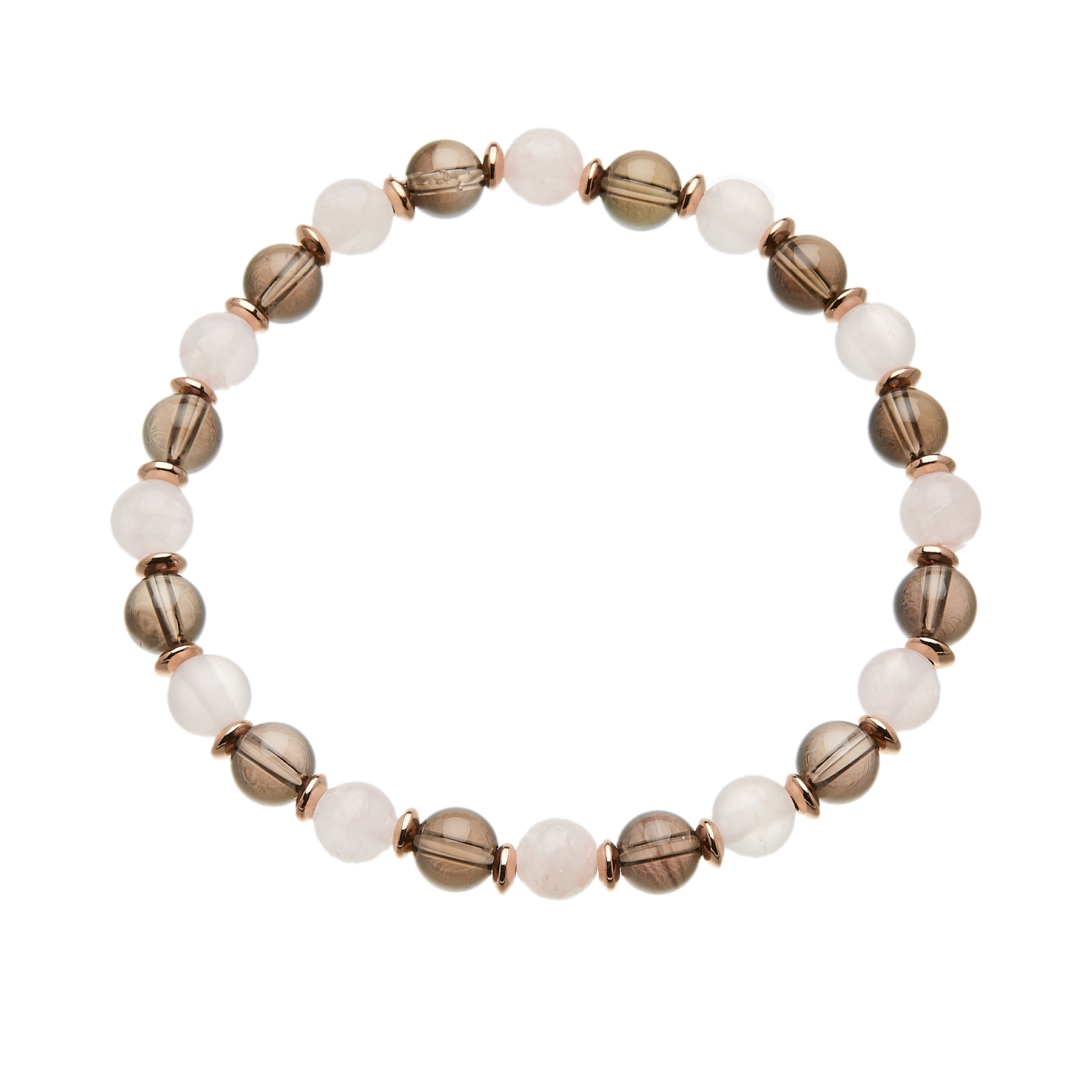 Pink jade and quartz beaded Bracelet with a rose gold spacers - Rae P20