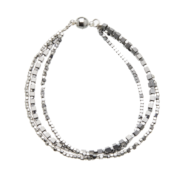 Silver Bracelet with three strands of silver and grey beads - Rafa S