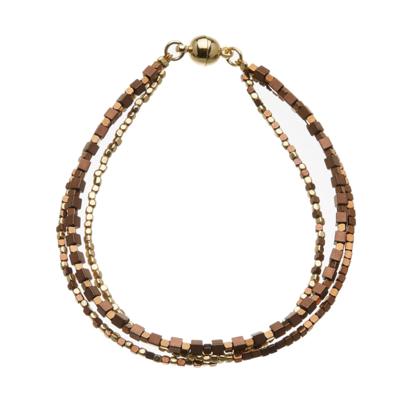 Gold Bracelet with three strands of gold and bronze beads - Rafa G