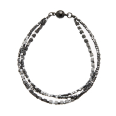 Black Bracelet with three strands of black and gunmetal grey beads - Rafa B