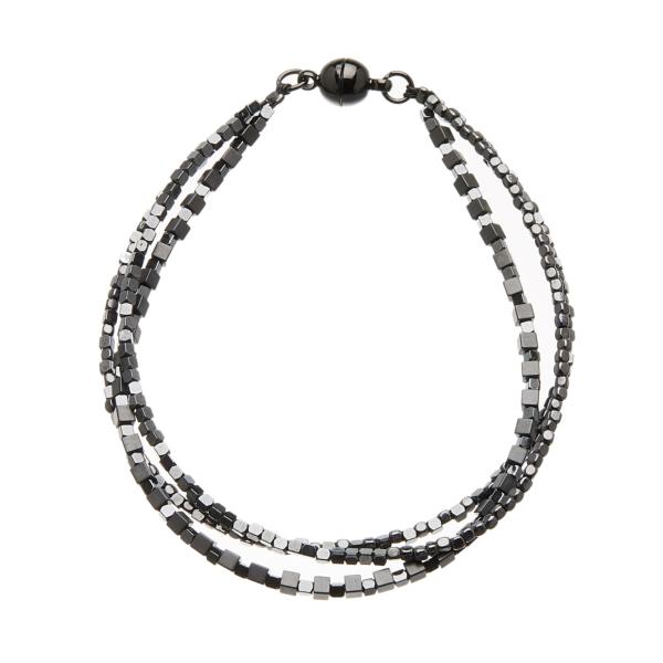 Black Bracelet with three strands of black and gunmetal grey beads - Rafa B