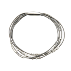 Bracelet with six grey leather strands and silver beads - Reeva S