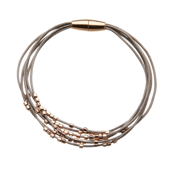 Bracelet with six grey leather strands and rose gold beads - Reeva RG