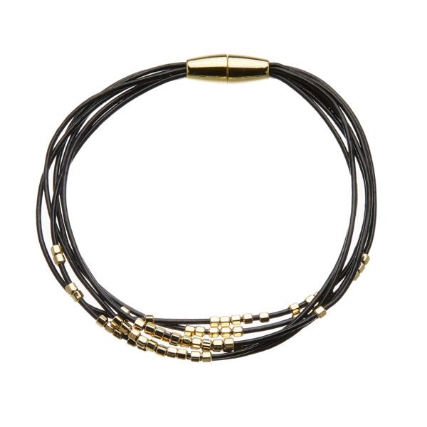 Bracelet with six black leather strands and gold beads - Reeva B