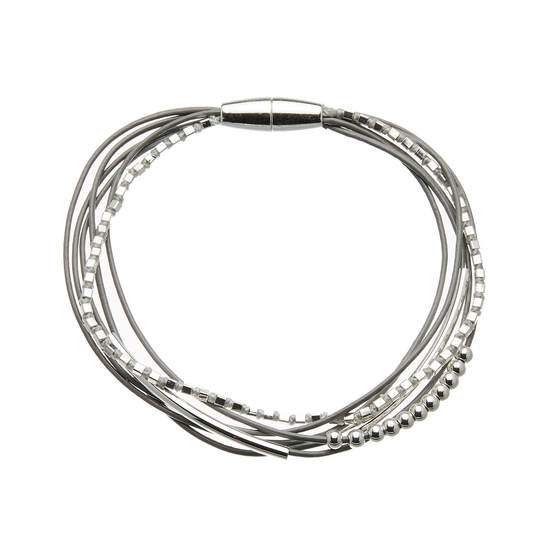 Bracelet with six grey leather strands and silver beads - Riley S
