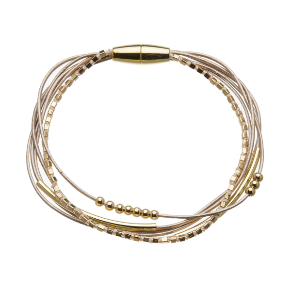 Bracelet with six pink leather strands and gold beads - Riley P