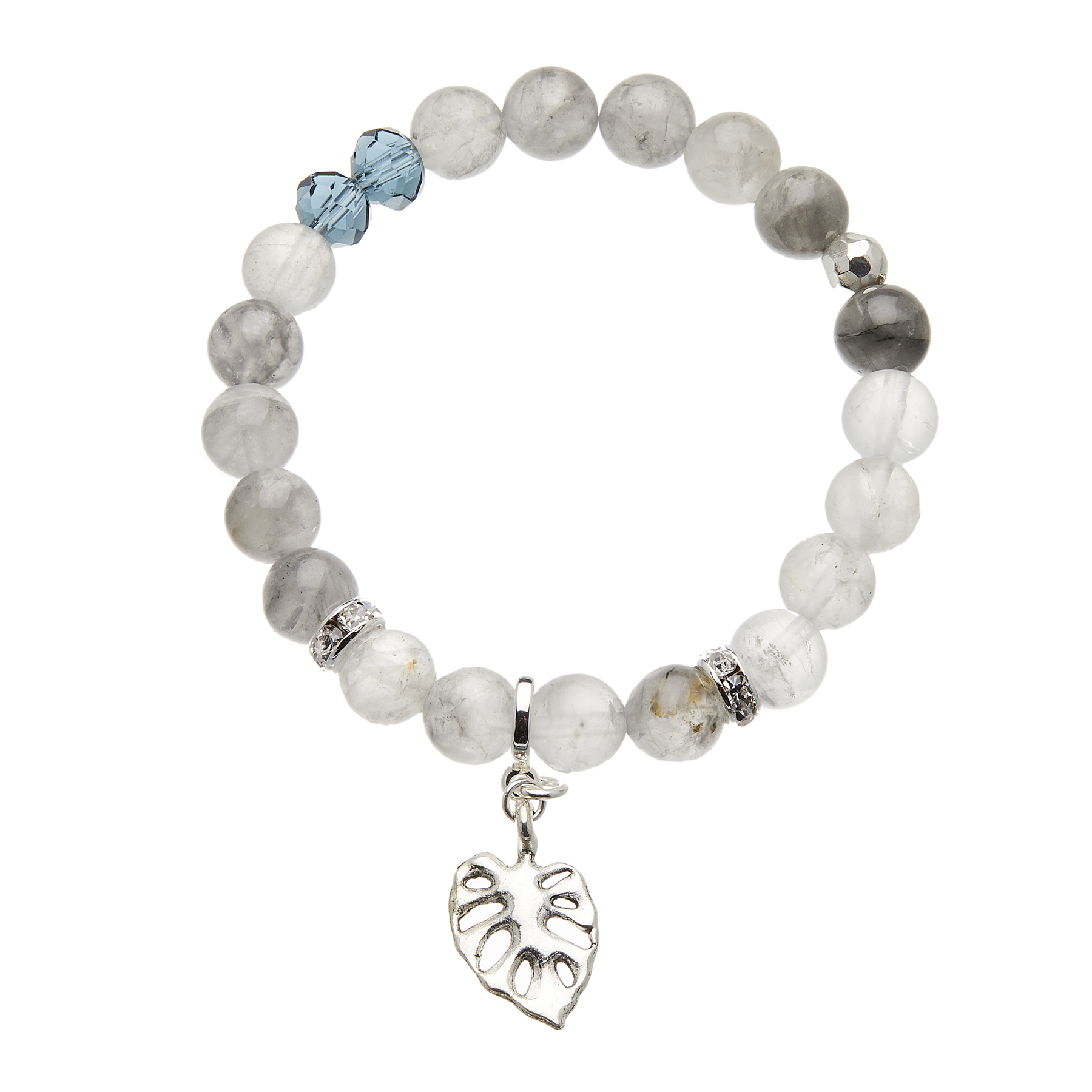 Cloud grey agate beaded Bracelet with silver leaf charm and crystals - Rae G03