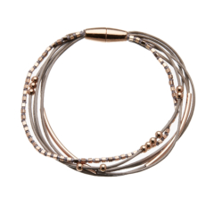 Bracelet with six grey leather strands and rose gold beads - Riley RG