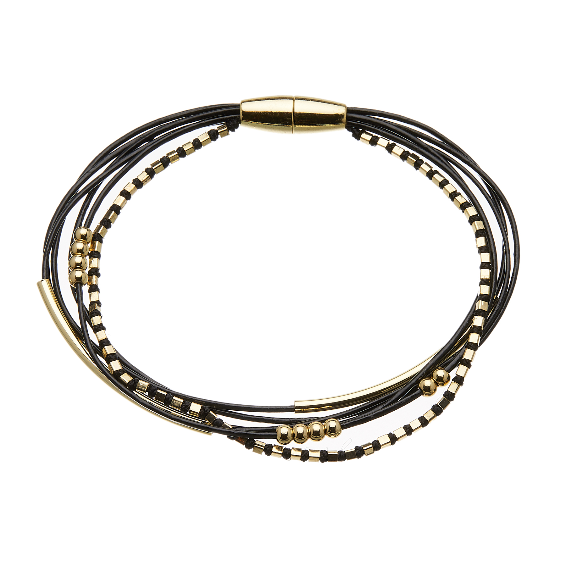 Bracelet with six black leather strands and gold beads - Riley B