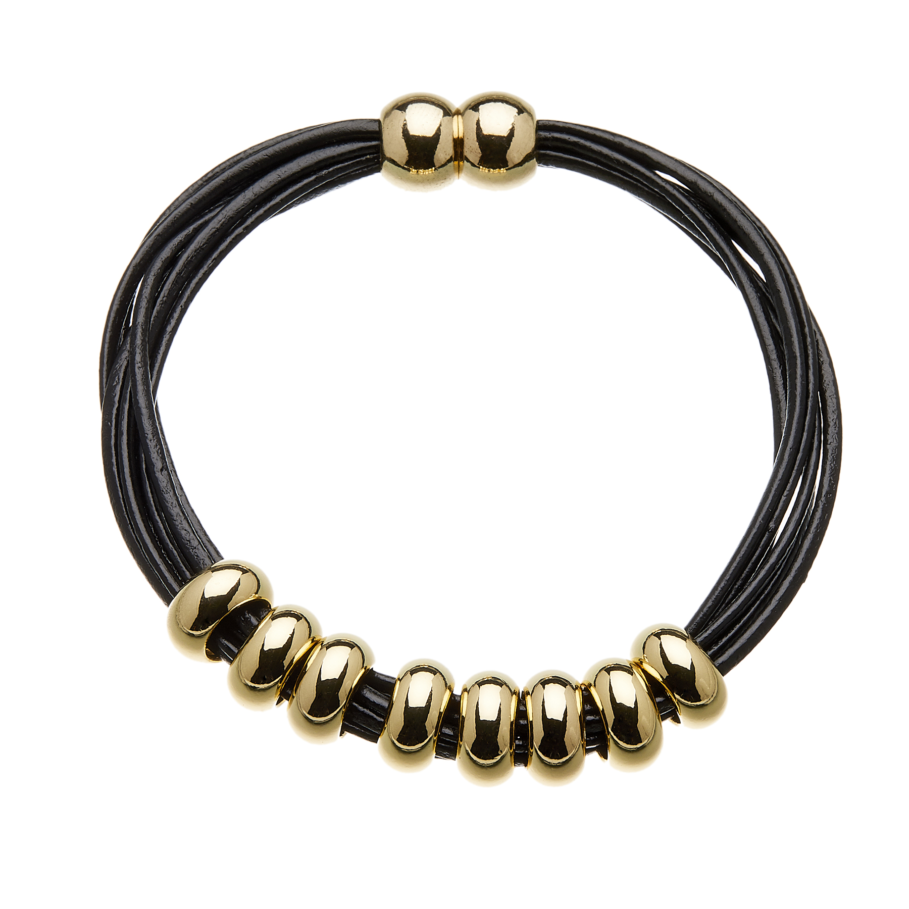 Bracelet with black leather strands and sliding gold beads - Rhoda B
