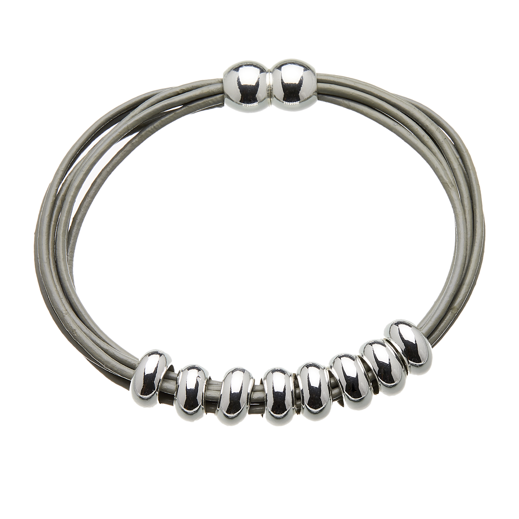 Bracelet with grey leather strands and sliding silver beads - Rhoda S
