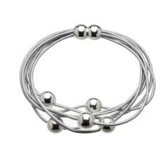 Bracelet with silver leather strands and sliding silver beads - Rita S