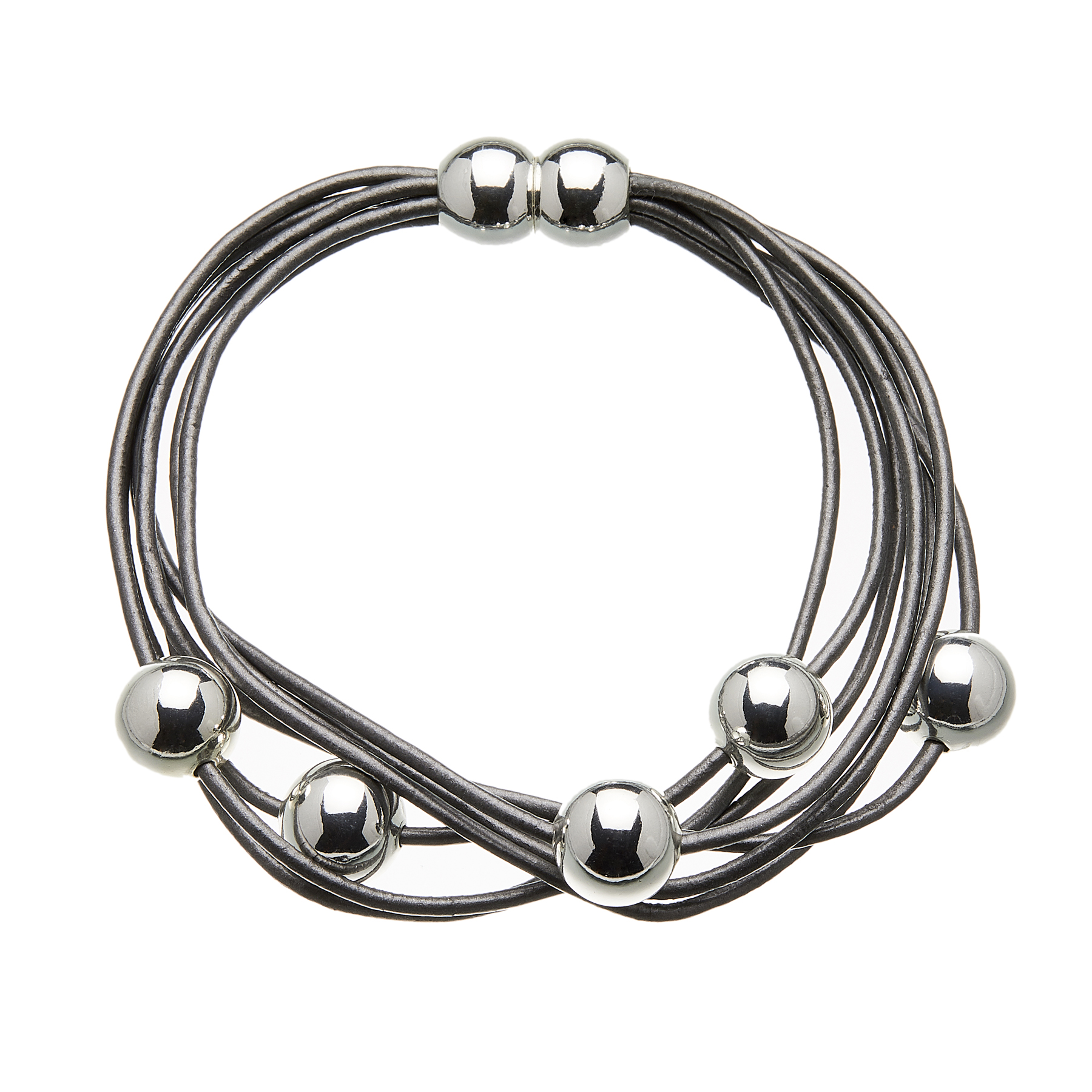 Bracelet with dark grey leather strands and sliding silver beads - Rita B