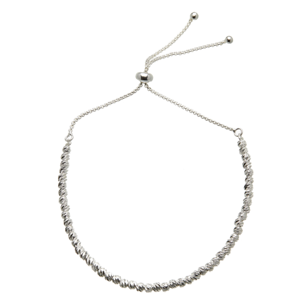 Silver Bracelet - adjustable sliding clasp with small silver beads - Rosey S