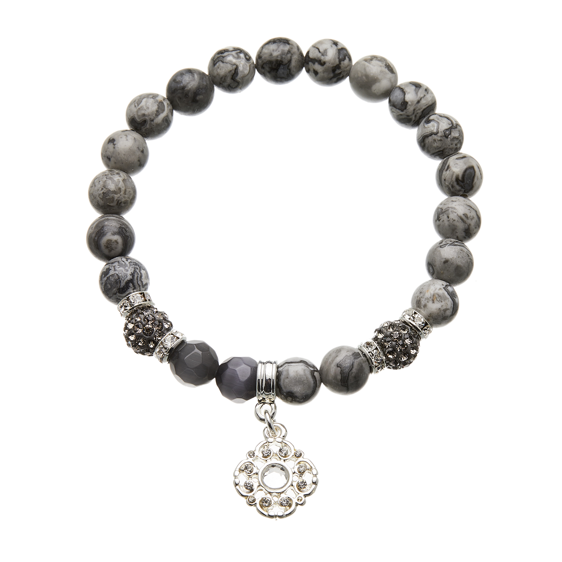 Map grey stone beaded Bracelet with silver charms and crystals - Rae G04