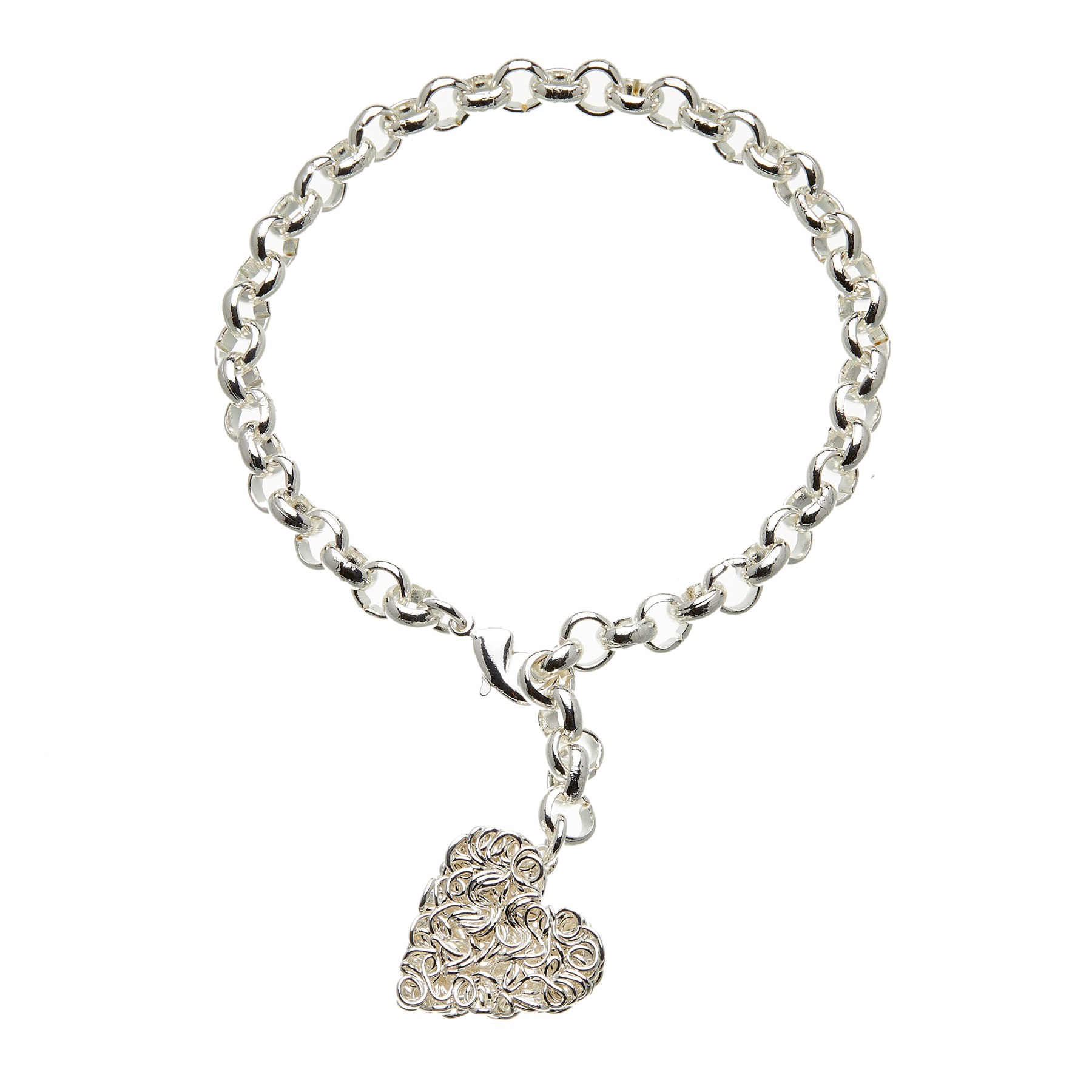 Silver heart tag charm Bracelet - Rowan S
