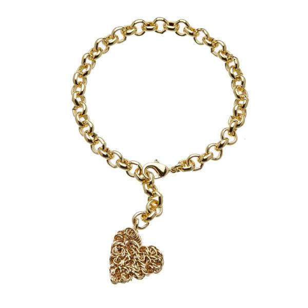 Gold heart tag charm Bracelet - Rowan G