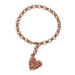 Rose gold heart tag charm Bracelet - Rowan RG
