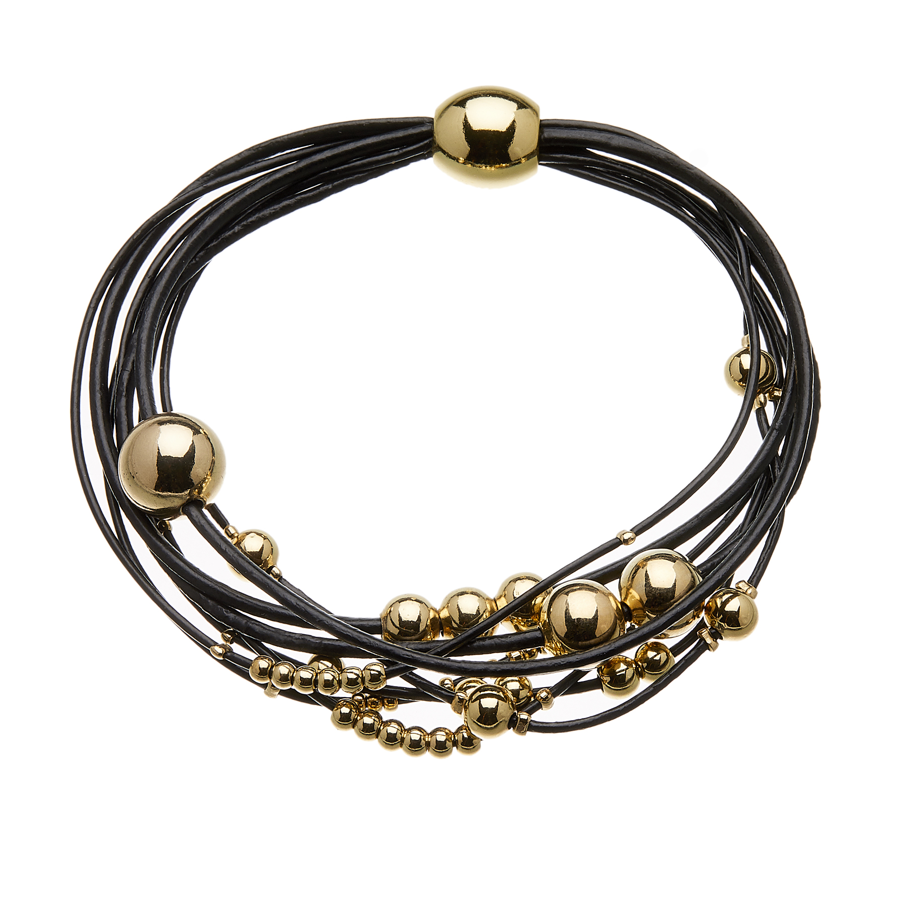 Bracelet with black leather strands and sliding gold beads - Ruth B