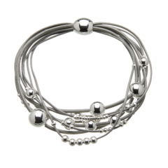 Bracelet with grey leather strands and sliding silver beads - Ruth S