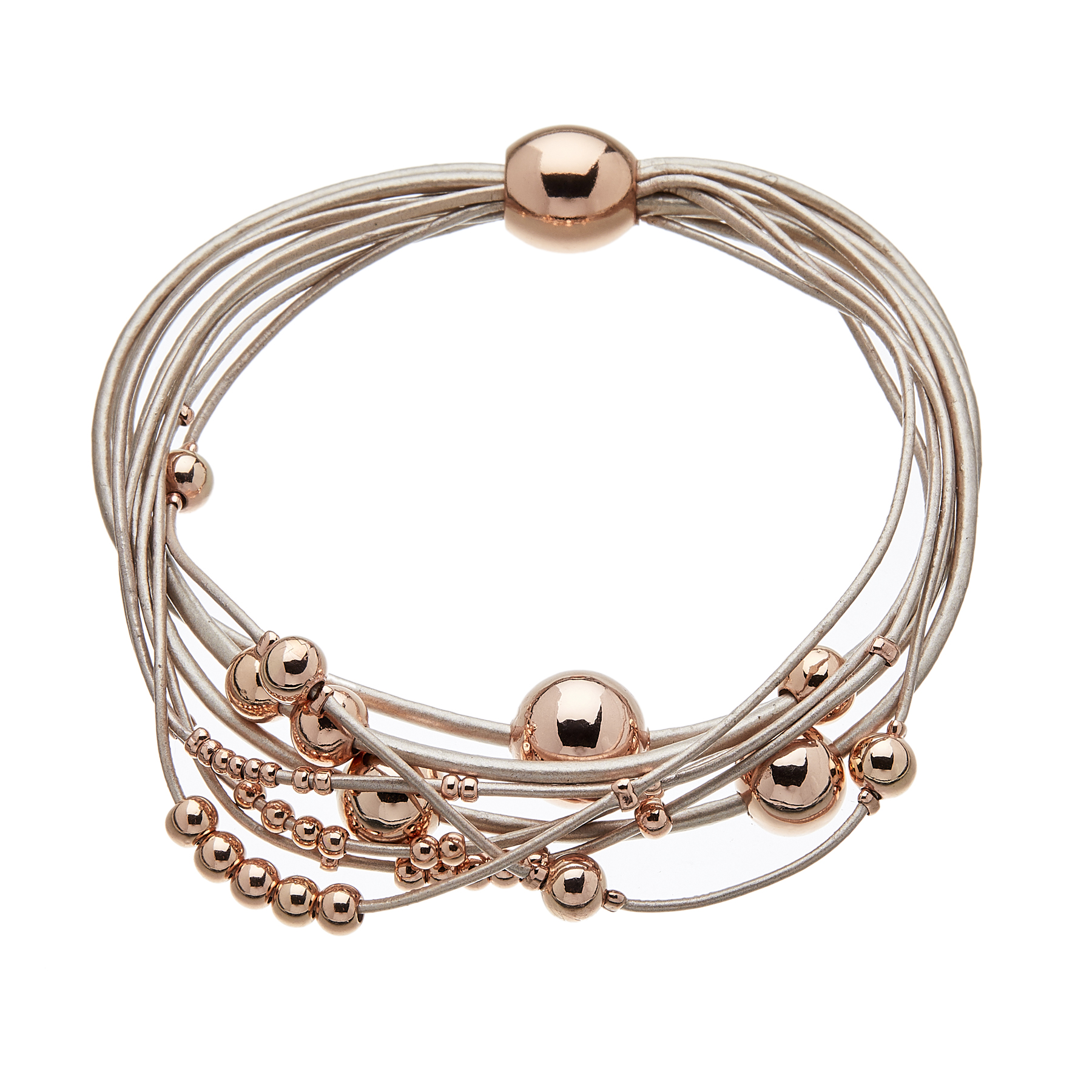 Bracelet with pink leather strands and sliding rose gold beads - Ruth P