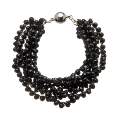 Bracelet with seven strands of black beads and a silver magnetic clasp - Roxey B