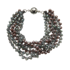 Bracelet with seven strands of grey beads and a silver magnetic clasp - Roxey G