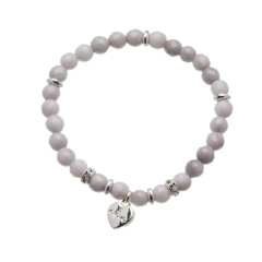 Facet grey jade beaded Bracelet with silver heart and crystals - Rae G05