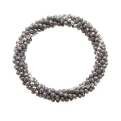 Grey glass rondelle Bracelet with silver beads - Rae G06