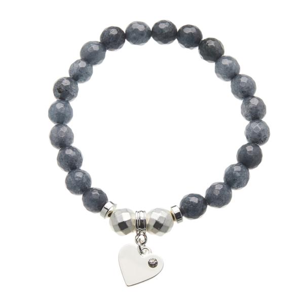 Grey jade beaded Bracelet with a silver heart charm - Rae G07