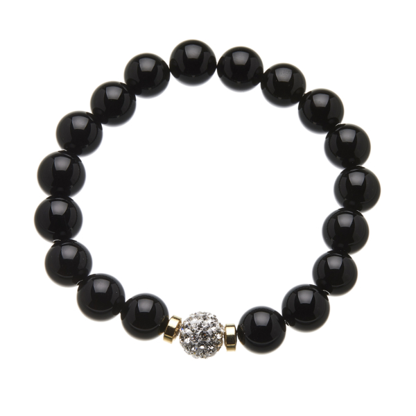 Black onyx beaded Bracelet with a crystal ball - Rae B08