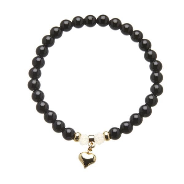 Black onyx beaded Bracelet with a gold heart charm - Rae B09