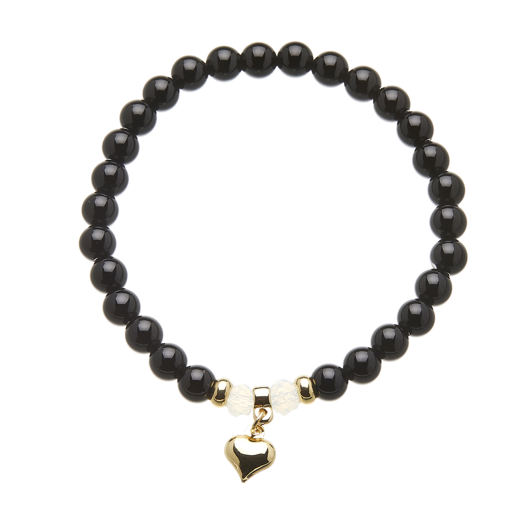 Black onyx beaded Bracelet with a gold heart charm - Rae B09
