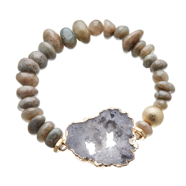 Bracelet with grey agate beads and grey druzy quartz stone - Jacey