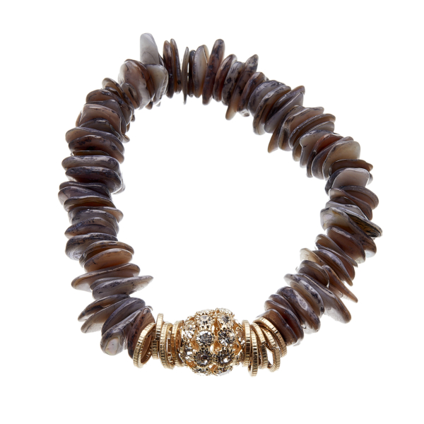 Bracelet with grey agate and clear crystals - Jala