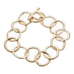 Matt gold T bar Bracelet with linked connecting circles - Jalen G