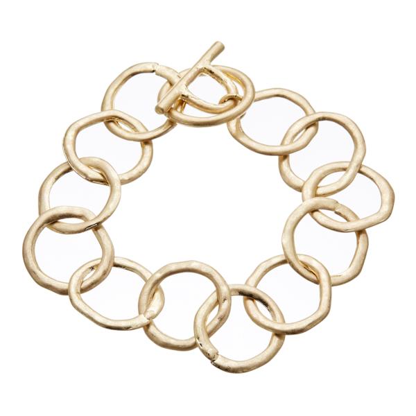 Matt gold T bar Bracelet with linked connecting circles - Jalen G