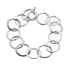 Silver T bar Bracelet with linked connecting circles - Jalen S