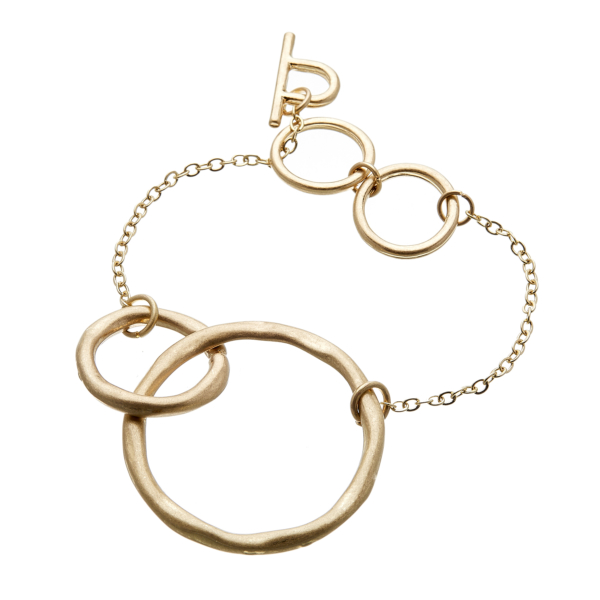 Matt gold T bar Bracelet with chain linked connecting circles - Jamia