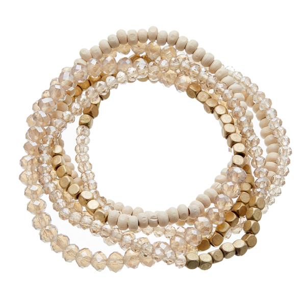 Set of six Bracelets with matt gold, wood and glass beads - Jaxi