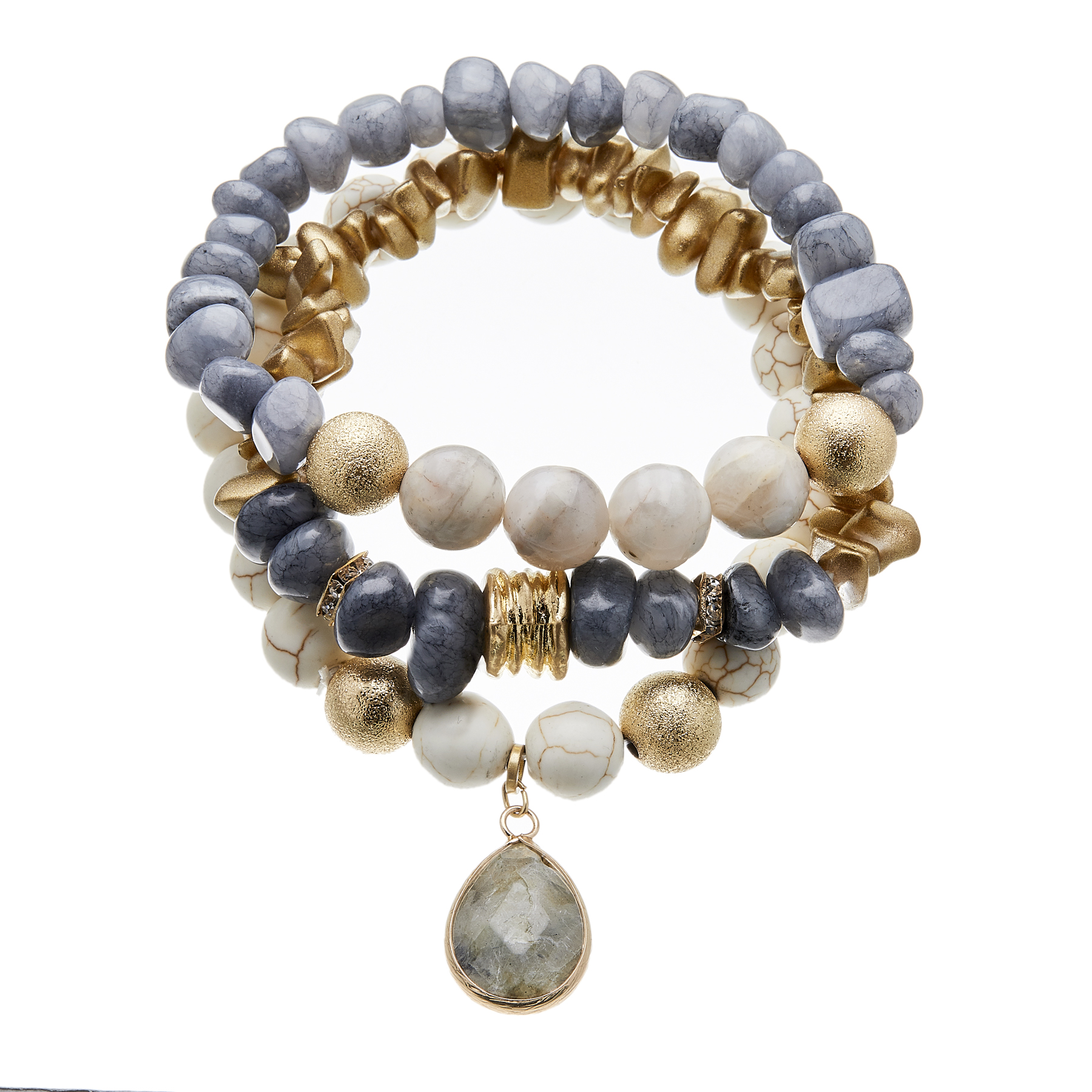 Set of three Bracelets with bluish grey agate and natural howlite beads - Jessie