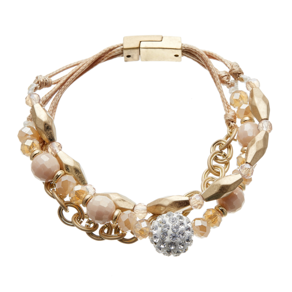 Antique matt gold magnetic clasp Bracelet with a crystal ball and pink beads - Jo