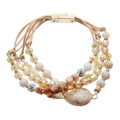 Antique matt gold magnetic clasp Bracelet with an agate stone and pink agate beads - Jody